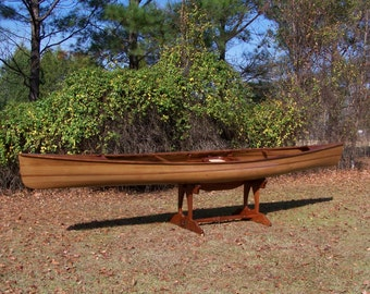 "Wooden Canoe, 17' 9"" Solo ""Evensong"" Tripping Model, Ancient Cypress and Ancient Kauri Wood Carbon Dated at 45,000 and 50,000 years old"