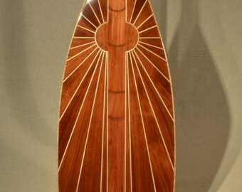 "Wooden Canoe Paddle, 14 Degree S-Blade, ""Morning Sun"", Softwood Edition"
