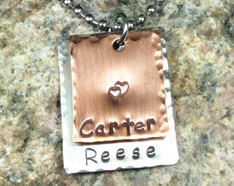 Two Metal Layered Handstamped Mom or Grandma's Necklace