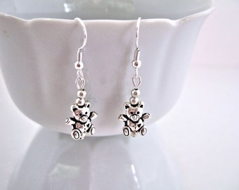 Adorable Mini Silver Teddy Bears Cute Earrings Gift Ideas for Her Birthday Gift for Teen Girls Gifts for Girls Womens Jewelry Little Girls
