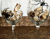 Hand Painted Wine Glasses -Spider Wine Glasses - Gift Idea