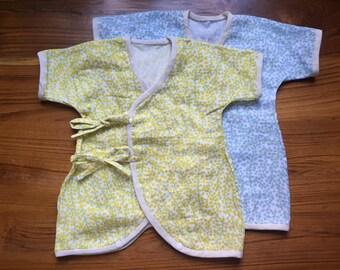 Baby Kimono / Onesie, Newborn - 3 months,  Japanese fabric, dot flower print