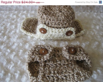 Crochet Baby Hat and diaper cover  Aviator Baby Boy Baby Girl Photo Prop Infant Newborn beige tan taupe neutral