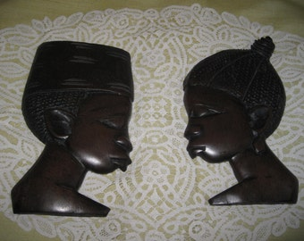 Two Wood carved man and woman Afrikan  silhouette H.18,3 cm TOP