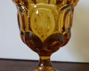 Amber Glass Ruffled Detailed Pedestal Dish Vintage Amber Glass Beautiful