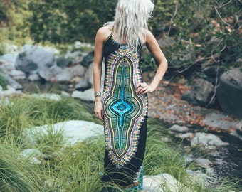 SALE: Gaia Maxi Dress, Midnight Priestess, Mother Earth dress, hippie, tribal, long dress, psychedelic, maxi tribal dress, festival dress