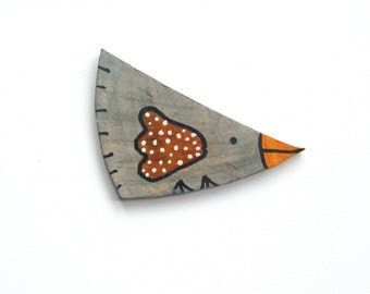 Light Blue - Yellow Bird,  Leather Brooch,  Recycled Leather Pin, Leather Gift, Eco Pin