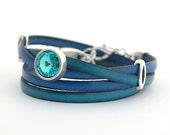 Blue Sapphire Genuine Leather Wrap Bracelet, Turquoise Cobalt Boho Wrap Bracelet, Leather Cuff Women, Bangle Bracelets, double wrap