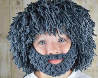 Wig Beard Hat- Halloween Costume- Any Color- Hobo- Mad Scientist- Rasta- Caveman- Boys Halloween Costume