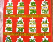 Mint Red Herbs and Spices Tea Towel