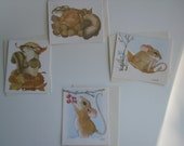 Frisky 'N' Frosty Current Notecards (set of 4):  linda l k powell  Current Inc.-1980s- squirrel - mouse - winter scene - sledding mouse
