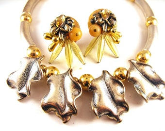 Tube Bead Necklace Chunky Leaf Motif Bonus Earrings To Match Clip On Style Silver Gold Hue