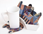 Fabric Coasters for cups, Bear Coasters, Kitchen Decor, Tea Coasters, Housewarming Gifts, Coffee hot pad, Coffee and Tea mat