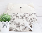 Pillows, White Cat, Flowers, Decorative Pillows, Children's Room Decor