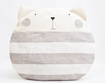Striped Pillow Cat Gray Round Cushion Cute Decorative Pillow Children's Room Decor Cat Cushion Striped Cat Pillow Housewarming Gift Mom Gift