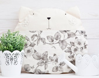 Pillows White Cat Flowers Decorative Pillows Children's Room Decor White Nursery Decor Bedroom Pillow Cat Cushion Baby Shower Gift