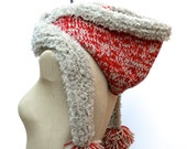 Reserved for Amna: The Vemdalen Hood ~ Hand Knit 100% Pure Merino Wool Hooded Scarf with British Wool Fur and Pom Poms in Red and Oatmeal