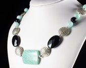 Amazonite Necklace with Black Onyx & Silver finish, statement necklace, green-blue, black gemstones, artisan, modern, gift for her, NL2995