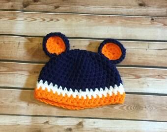 Crochet Chicago Bears Football Hat, photography prop, crochet hat, bear hat