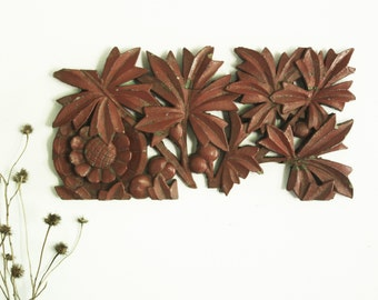 Sunflower carved painted wood fragment wall decor Victorian Architectural salvage