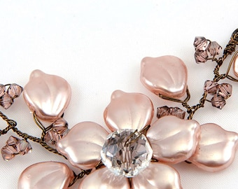 Peach Bridal Necklace, Peach Flower Necklace, Peach Flower Bib Necklace, Peach Choker Necklace, Wedding Jewelry, Bridal Accessories