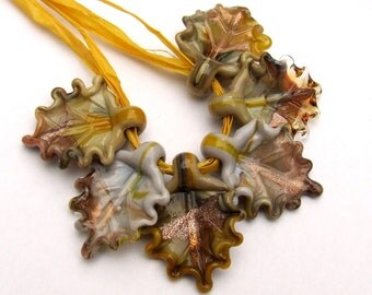 Lampwork Glass Leaves for Jewelry Making, Autumn Leaves Set of 6 leaf beads in shades of Ochre and Grey, Made to Order