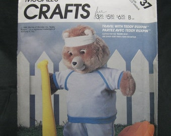 McCall's 2737, jogging outfit for Teddy Ruxpin the Talking Bear, sneakers, headband, jogging suit pattern, clothes only, bear not included