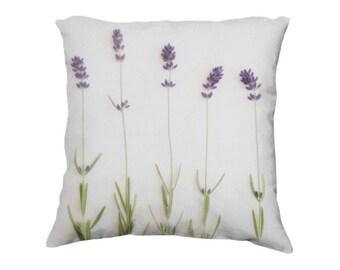 "Lavender Throw Pillow Cover, Nature Photography, Botanical Bedroom Decor, Purple & Green Pastel Decorative Photo Pillow Case, 18x18"""