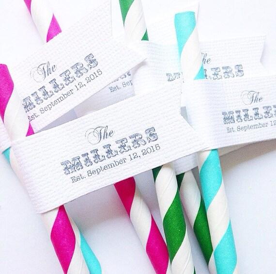 Custom Wedding Paper Straws With Flags/ wedding straws/ Wedding decor/ just married/ miss to mrs/custom straw flag