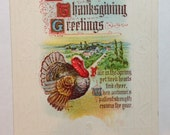 Vintage Hearty Thanksgiving Greetings Postcard 1925