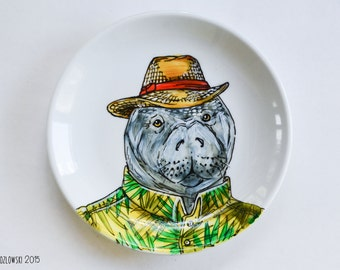 Old Man Manatee - Single Hand Painted Plate