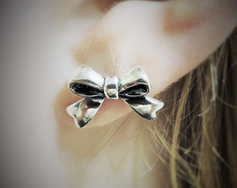 Sterling Silver Bow Stud Earrings, Tiny Bows, Stud Earrings, Jewelry, Bow Jewelry, Silver, Earrings, Ribbons, Bows, Fashion Jewelry.