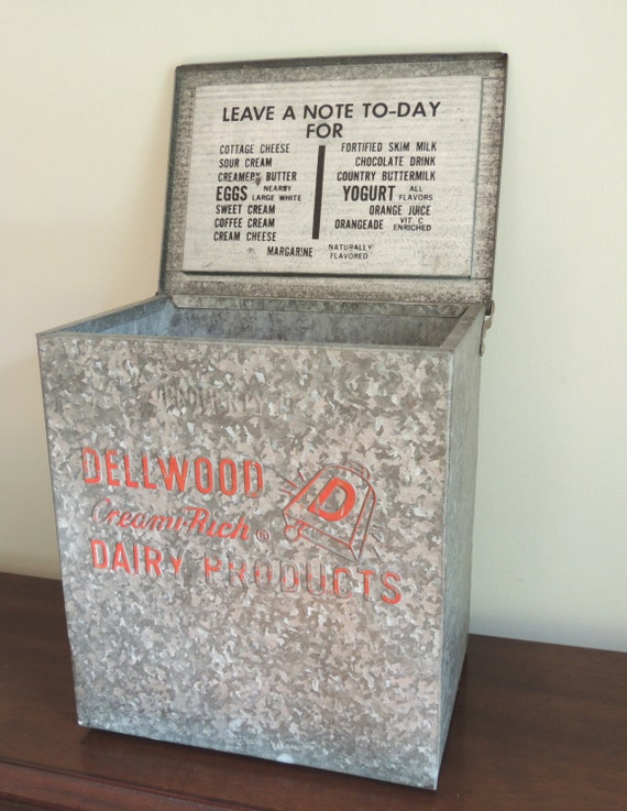 rare vintage dellwood dairy milk box cooler galvanized metal. Black Bedroom Furniture Sets. Home Design Ideas
