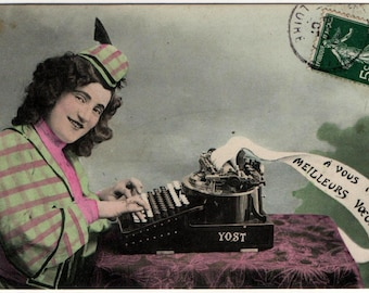 Postcard of Yost No.10 Typewriter with Pretty Girl