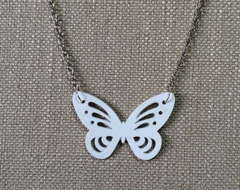 Butterfly pendant made from white paper