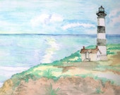 Bodie Island Lighthouse, North Carolina Seashore Outer Banks Home Decor, Matted Fine Art Print of Original Watercolor Painting