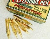 Telephone pen vintage dip pen nibs: fine point unused vintage set of six unused vintage nibs.