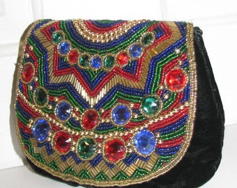 JEWELED EVENING BAG // Gorgeous Vintage 80's Party Beaded Bejeweled Sorpresa 90's Black Velvet