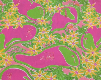 Authentic Lilly Pulitzer signature fabric Line Drive  2 sizes 9 X 18 or 18 X 18 inches