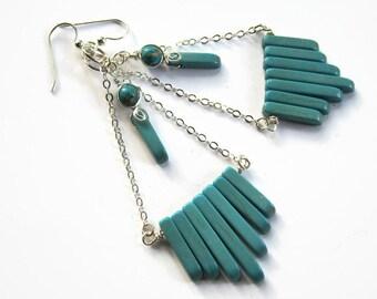 Super Long Chandelier Earrings, 925 Sterling Silver Earrings, Turquoise Magnesite Earrings, Chain Dangle Earrings, Bohemian, READY To Ship