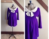 Miss Holloway 1960s Purple Mini Dress/Tunic with Grey Peter Pan Collar/Bow Detail