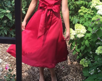 Classic Retro Modest Handmade Satin Taffeta Cherry Red Dance Swing Bridesmaid Wedding Elegant Cocktail Tea Formal Dress, size Small