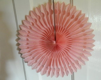 """12"""" Light Pink Tissue Paper Decorative Fans-Large Fancy Circles- Wedding Decoartion-Baby Shower-Bridal Decor-Hanging Room Pom-Birthday Party"""