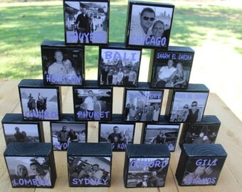WEDDING TABLE NUMBERS, Place Cards, Centerpieces, Reception Decorations, Rustic Wedding Photo Blocks- Set of 18