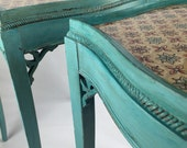 HOLD for Sandra Pair Vintage/Antique Distressed Painted End Tables