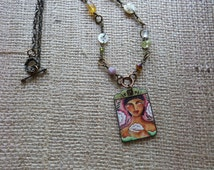Mixed Media Pendant Necklace Pretty Girl Holding Flower Beads and Antique Pearl Buttons on Chain [107]