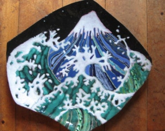 Original ceramic painting, unique, hand made, hand painted, wall decor,