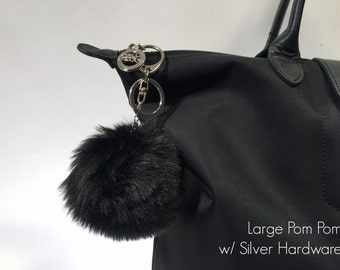BLACK MINK Faux Fur Pom Pom Keychain and Purse / Handbag Charm