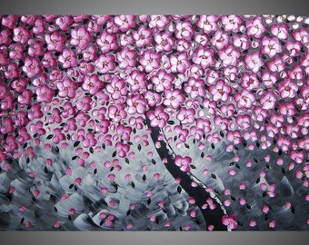 Painting Art Paintings Tree Painting Pink Metallic Blossom 3D Wall Art Black White Abstract Art Deco canvas 48 x 24 MADE TO ORDER by ilonka
