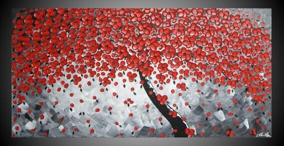 Tree Blossom Bloemen Muur Grijs Zwart Rood 120 X 60 Cm Kunst By Ilonka